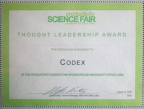 OfficeLabs Thought Leadership Award for Codex (full scan)