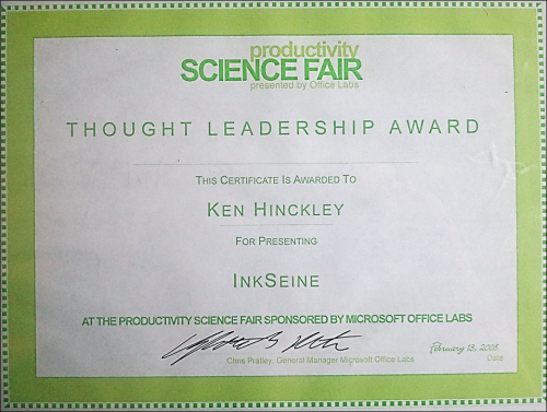 OfficeLabs Thought Leadership Award for InkSeine (full scan)