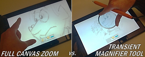 Pen Grip + Motion example: Full canvas zoom vs. Magnifier tool