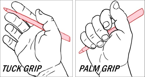 Tuck and Palm Grips for temporarily stowing a pen