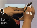 Wearables (fitness band and ring) provide missing context (who touches, and with what hand) for direct-touch bimanual interactions.